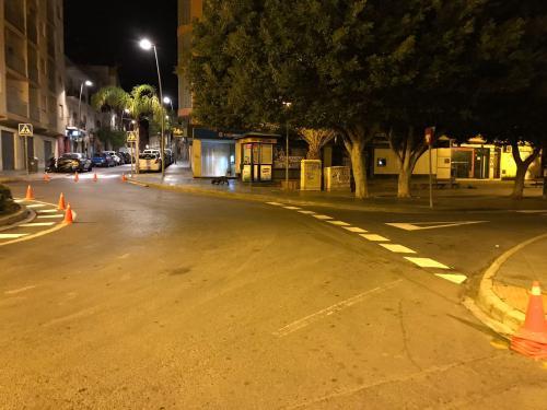 Repintado de la Plaza Quemadero Almeria señalizacion horizontal  villar gestión infraestructuras